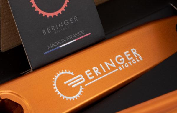 Pédalier BMX Race orange 180 mm gravure laser